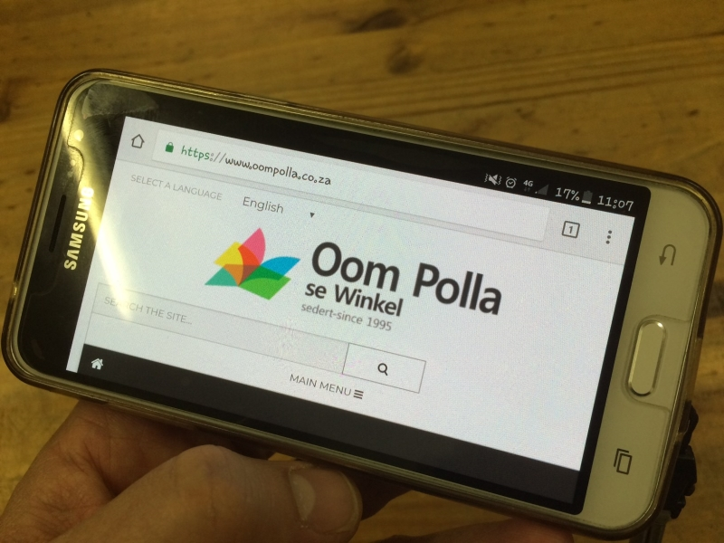 Oom Polla website on Mobile Device