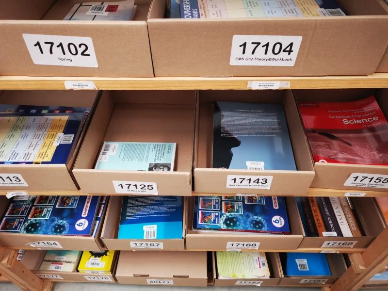 Textbooks on shelves
